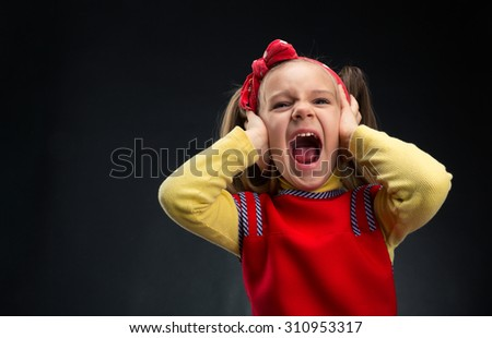 Little girl screaming - stock photo