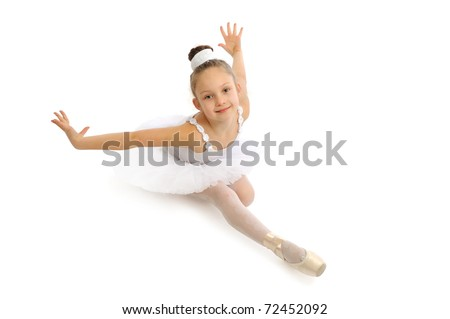 Little girl sitting at the ballet class - stock photo