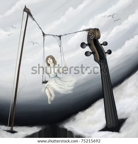 little girl sitting on violin seesaw in fantasy world, digital painting - stock photo