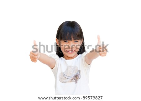 Little girl smiling and showing thumbs up isolated on white - stock photo