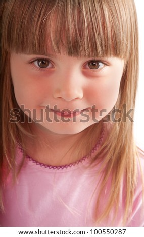 little girl smiling close-up - stock photo