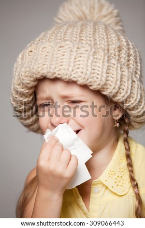 little girl snot - stock photo