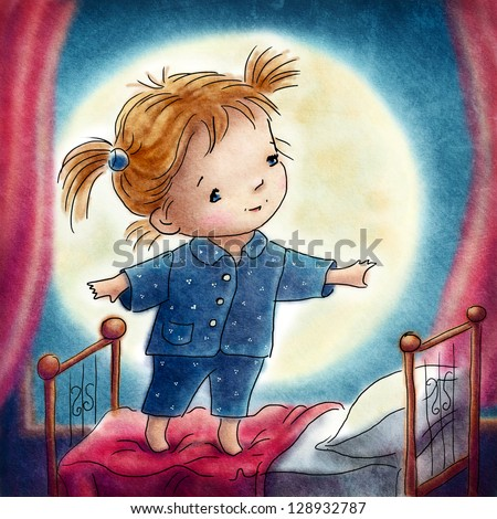 little girl standing on the bed in front of large moon - stock photo