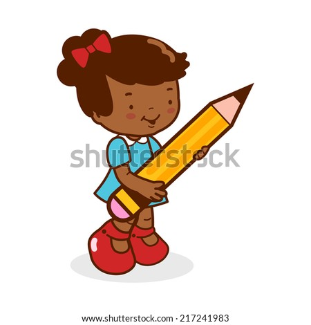 Little girl student holding a big pencil. A cute African american girl student writing using a big pencil. Vector version also available in my gallery. - stock photo