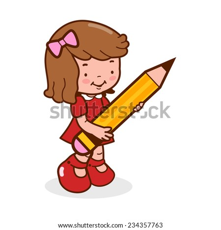 Little girl student holding a big pencil. A cute girl student writing and drawing using a big pencil. Vector version also available in my gallery. - stock photo