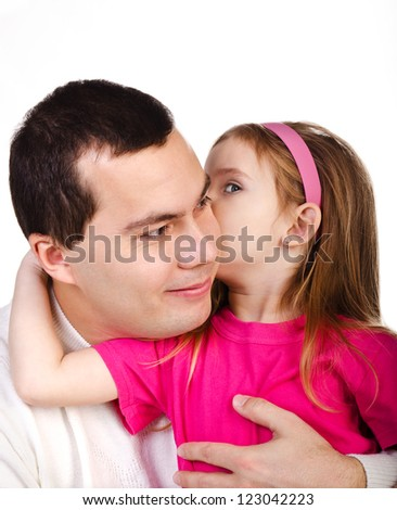 Little girl telling something her smiling father isolated on a white - stock photo