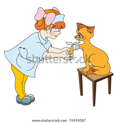 Little girl treats the paw of kitty - stock photo