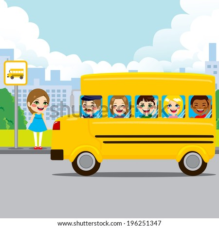 Little girl waiting on bus stop to ride schoolbus to school - stock photo