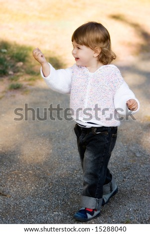 Little Girl Walking - stock photo