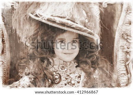 Little girl wearing a princess dress (vintage style) - stock photo