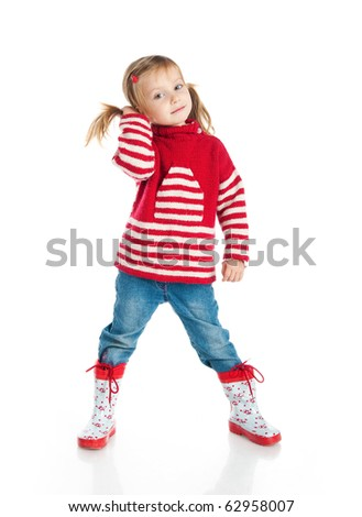 Little girl wearing sweater and gumboots isolated on white - stock photo