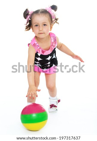 little girl with a ball.Isolated on white background. - stock photo