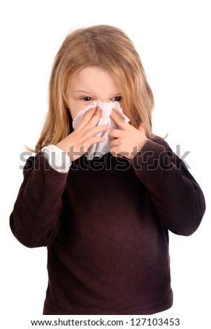 little girl with a cold - stock photo