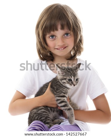 little girl with a kitten - white background - stock photo