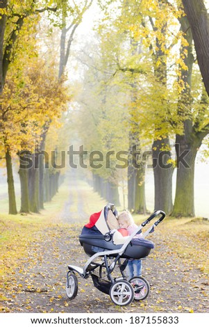 little girl with a pram on walk in autumnal alley - stock photo