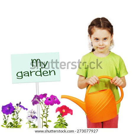 Little girl with a watering can and flowers isolated over white background - stock photo