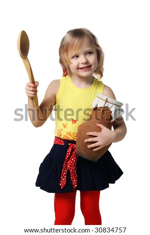 Little girl with a wooden spoon and crock on a white background - stock photo