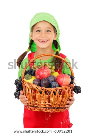 Little girl with basket of fruits, isolated on white - stock photo