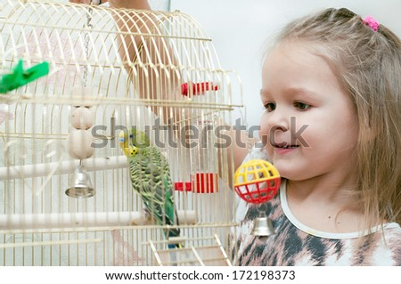 Little girl with budgie  - stock photo