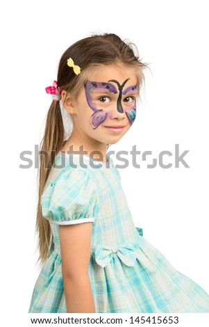 Little Girl With Butterfly Face Painting, Isolated - stock photo