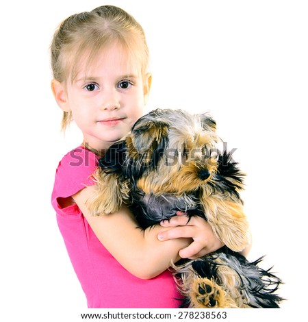 Little Girl with Dog Pet Isolated on White Background - stock photo