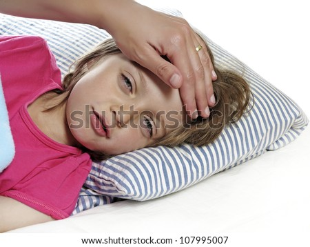little girl with fever - stock photo