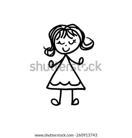 Little Girl with Flip - stock photo