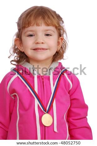 little girl with golden medal winner - stock photo