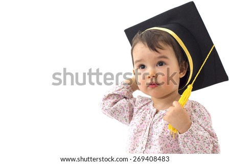 Little girl with graduation hat isolated on white background - stock photo