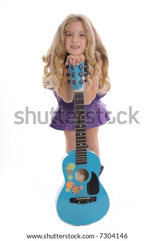 little girl with guitar - stock photo