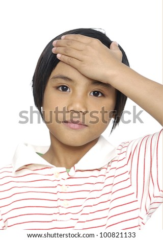 Little girl with headache on white background - stock photo