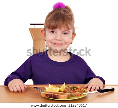 little girl with healthy breakfast - stock photo