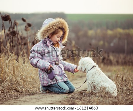 little girl with her dog breed White Terrier walking in autumn - stock photo