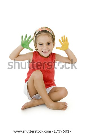 little girl with her hands painted isolated on white background - stock photo