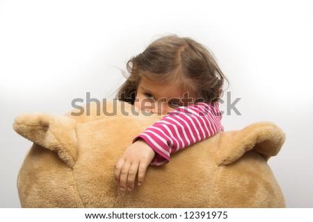 little girl with her teddybear - stock photo