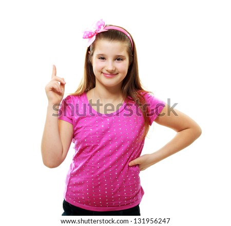 little girl with index finger up, Isolated over white with clipping - stock photo