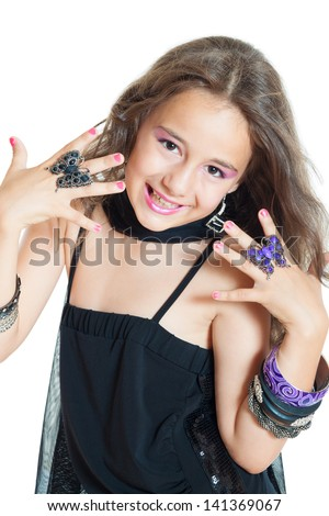 little girl with jewelry isolated on white - stock photo