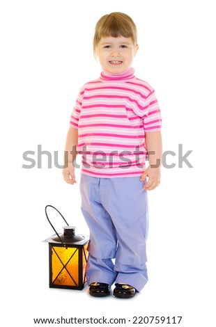 Little girl with lantern isolated - stock photo