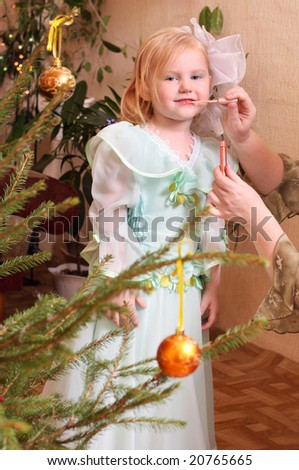little girl with make-up - stock photo