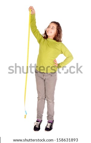 little girl with measuring tape isolated in white - stock photo