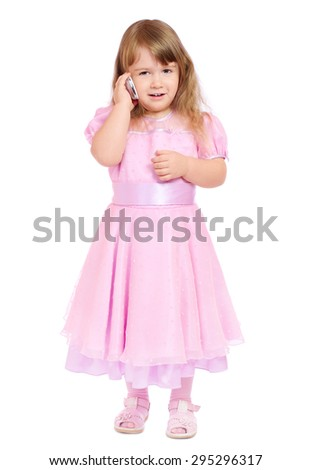 Little girl with mobile phone isolated - stock photo