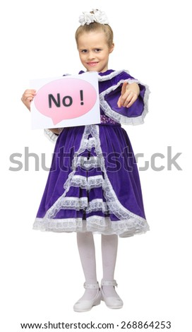 "Little girl with ""No"" banner isolated - stock photo"