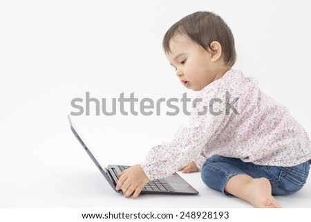 little girl with notebook isolated on white - stock photo