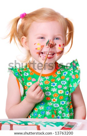 little girl with paint - stock photo