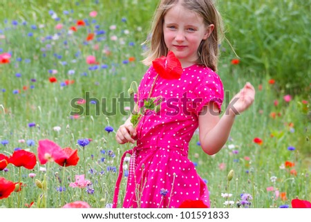 Little girl with poppies - stock photo