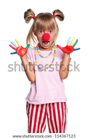 Little girl with red clown nose isolated on white background - stock photo