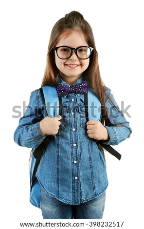 Little girl with school backpack isolated on white - stock photo