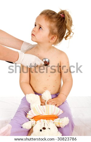 Little girl with small pox consulted by a physician - stock photo
