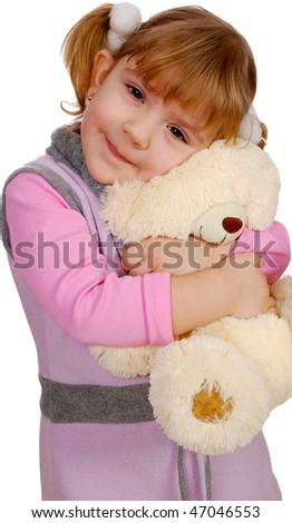 little girl with teddy-bear - stock photo