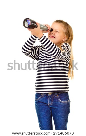 little girl with telescope isolated on a white background - stock photo